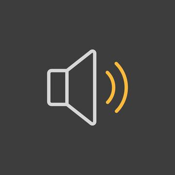 Medium volume sound music icon on dark background