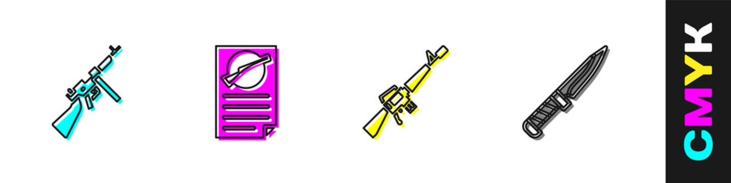 Set Tommy gun, Firearms license certificate, M16A1 rifle and Military knife icon. Vector