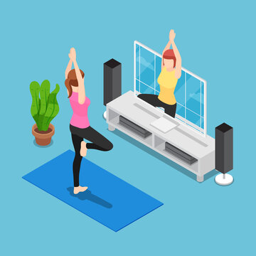 Isometric Woman Training Yoga by Follow Coach in Television