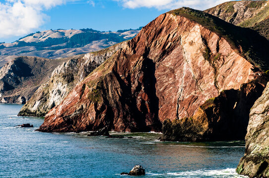Cliffs in California Bay Area in Marin Headlands during daytime