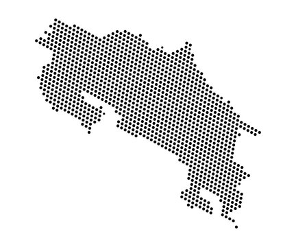 Abstract map of Costa Rica dots planet, lines, global world map halftone concept. Vector illustration eps 10.
