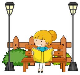 Cute girl reading book doodle cartoon character