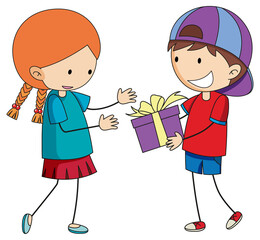 Boy giving a gift to a cute girl cartoon character in hand drawn doodle style isolated