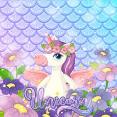 Cute unicorn on rainbow fish scales background
