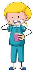 Little girl brushing teeth doodle cartoon character isolated