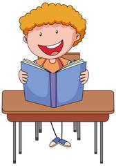 A boy reading book doodle cartoon character