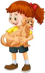 Happy girl cartoon character hugging a cute dog