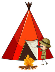 Camping tent with doodle kids cartoon character isolated