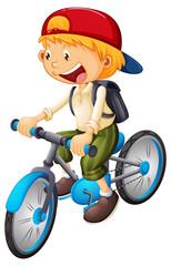 A boy cartoon character wearing cap riding a bicycle