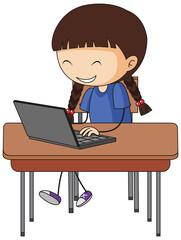 Cute girl using laptop doodle cartoon character