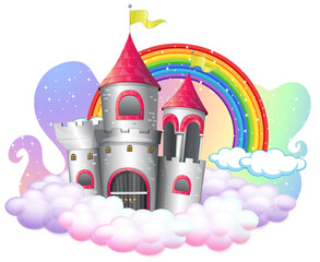 Castle with rainbow on the cloud isolated on white background