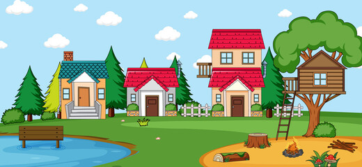 Outdoor scene with many houses in nature scene