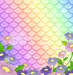 Fantasy fish scales background with many flowers