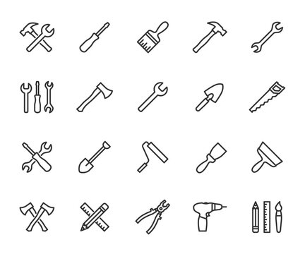 Vector set of tools line icons. Contains icons hammer, wrench, screwdriver, axe, paint brush, putty knife, drill, pliers and more. Pixel perfect.
