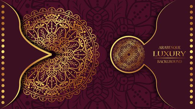 luxury ornamental mandala design background in gold color. ornament elegant invitation wedding card , invite ,Arabesque Pattern, Islamic, backdrop cover banner illustration vector design
