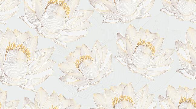 Luxury lotus seamless pattern background vector. Golden lotus line arts design for wedding, backdrop, wallpaper, banner, card, cover, texture, packaging design. Vector illustration