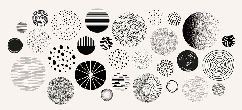Set of hand drawn doodle circles, textures for your design.