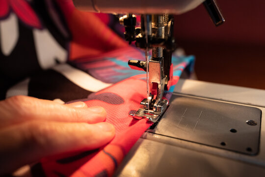 home sewing on bright fabric