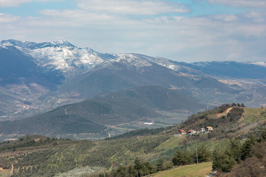 view of the snow capped mountains and countryside surrounding Iznik (Nicea) Turkey