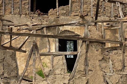 ruins  of a mud brick village house