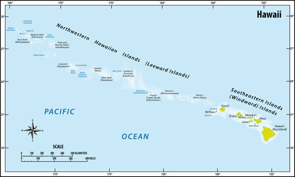 vector map of the pacific hawaii archipelago