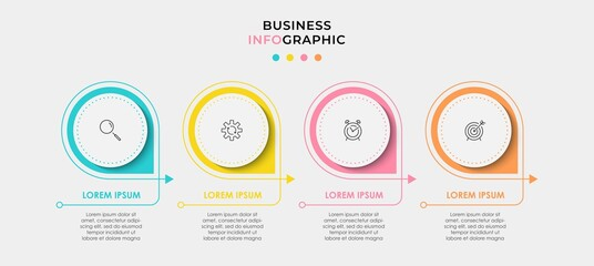 Fototapeta Minimal Infographic circle label design business vector template with icons and 4 options or steps. Can be used for process diagram, presentations, workflow layout, banner, flow chart, info graph obraz