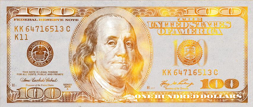 golden textured 100 US dollar banknote