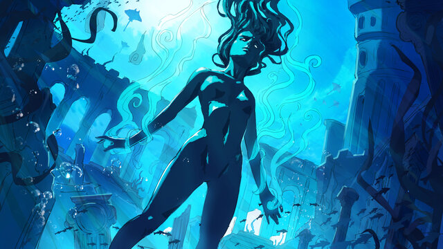 A beautiful sensual girl of water elementals swims peacefully against the background of a lost city under the water, surrounded by fish and stingrays, the sea surface glows pleasantly from the inside