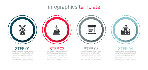 Fototapeta Set Windmill, Sword the stone, Decree, parchment, scroll and Castle, fortress. Business infographic template. Vector
