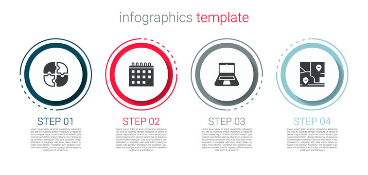 Set Piece of puzzle, Calendar, Laptop and Folded map with location. Business infographic template. Vector