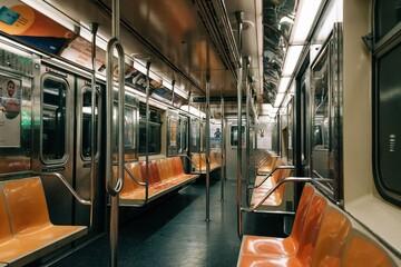 Empty 6 train subway car in New York City