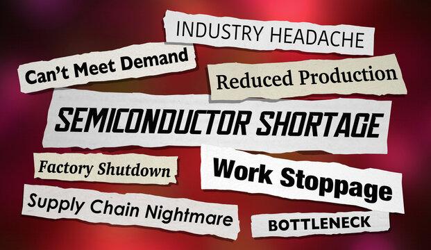 Semiconductor Shortage Technology News Headlines Microchip Supply Problem 3d Illustration