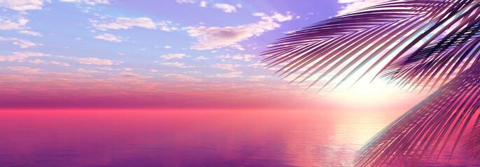 sunset sea palm landscape illustration
