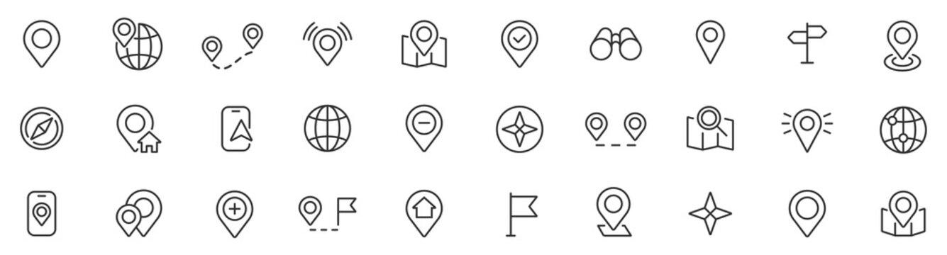 Location icons set. Navigation icons. Map pointer icons. Location symbols. Vector illustration