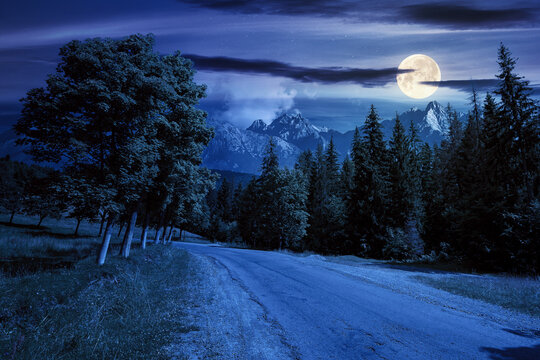 asphalt road through forested mountains at night. beautiful countryside transportation background. composite summer landscape with high tatra ridge in the distance in full moon light
