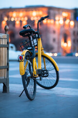 bicycle in city street background