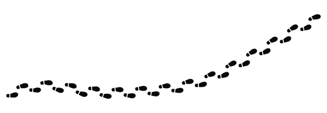 Step footprints paths. Traces of human shoes, steps of the soles of people's shoes, a route from footprints. Footsteps footprint trekking route. Footsteps print route. Vector illustration