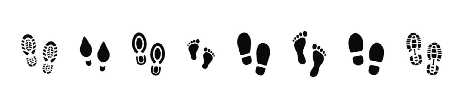 Collection of footprints shoes human walking and shoe sole feet footsteps people. Foot print, set with shoes bare feet and boot print. Paws people. Human footprints icons. Vector illustration