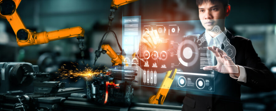 Advanced robot arm system for digital industry and factory robotic technology . Automation manufacturing robot controlled by industry engineering using IOT software connected to internet network .