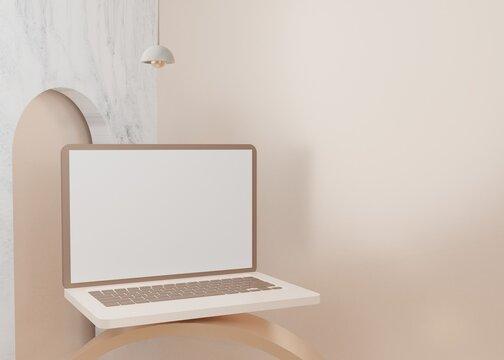 3D rendering surreal platform laptop mockup display pastel Premium Psd