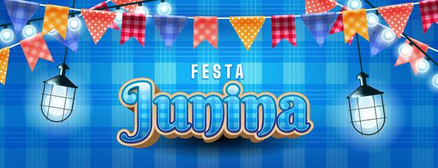 Fototapeta Festa junina illustration with party lights and paper lantern obraz