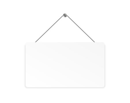 Realistic blank signboard. Hanging white banner with place for text. Vector illustration.