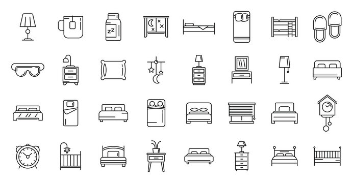 Bedroom icons set, outline style