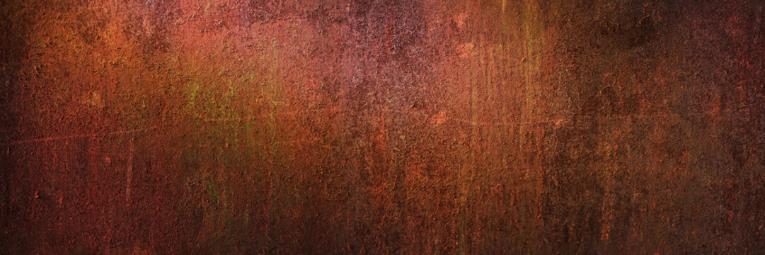 Panoramic grunge rusted metal texture, rust and oxidized metal background, banner. Old metal iron panel