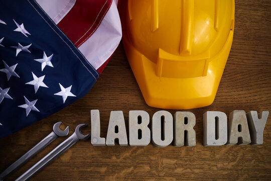 Happy Labor Day banner. 1st May. American patriotic background.