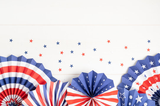 4th of July holiday banner design. USA theme paper fans. Independence, Memorial Day pinwheels