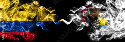 Colombia, Colombian vs United States of America, America, US, USA, American, Illinois smoky mystic flags placed side by side. Thick colored silky abstract smokes flags.