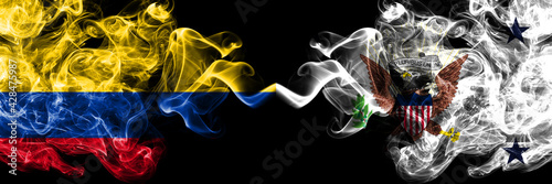 Colombia, Colombian vs United States of America, America, US, USA, American, Vice President smoky mystic flags placed side by side. Thick colored silky abstract smokes flags.