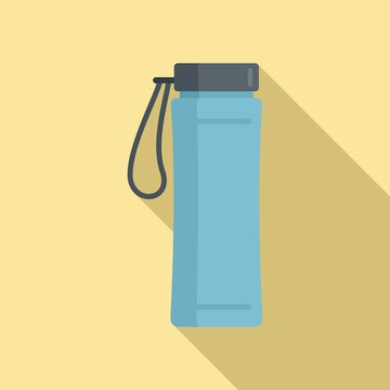 Gym water bottle icon, flat style