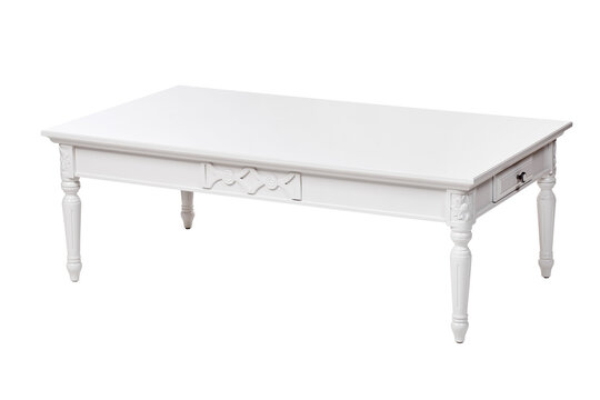 White coffee table with drawer, with clipping path